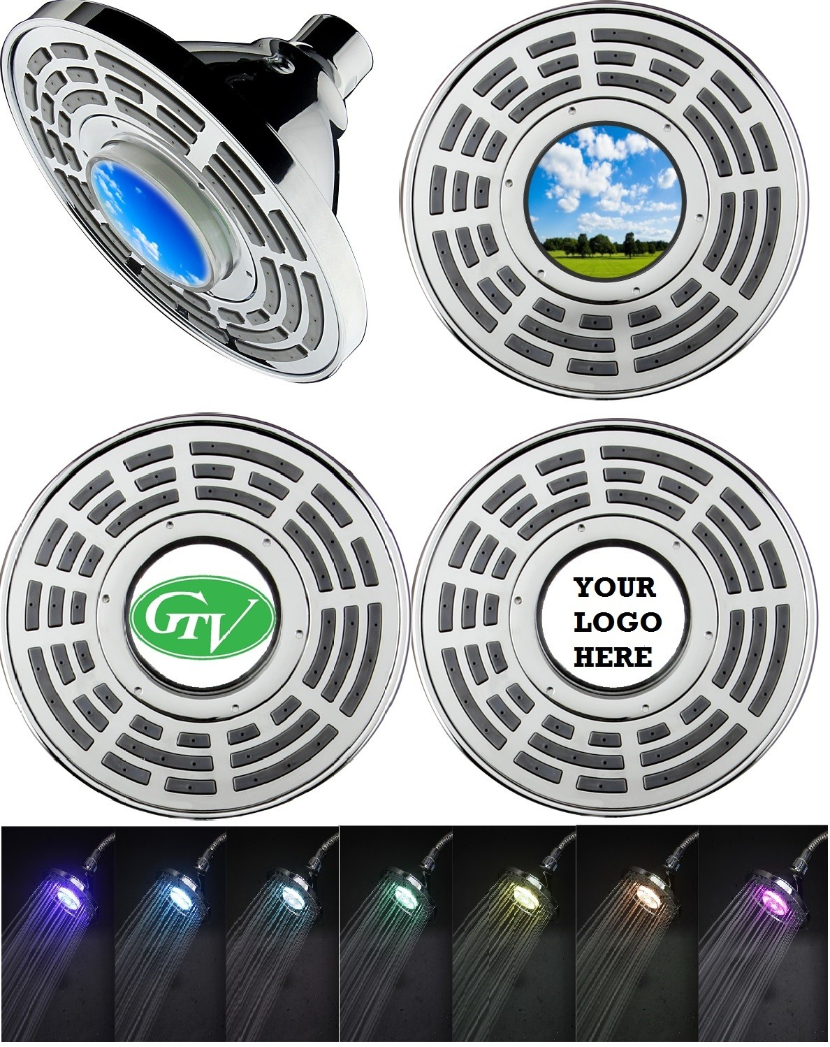 LED 7 Colors Changing Icon Display Shower Head