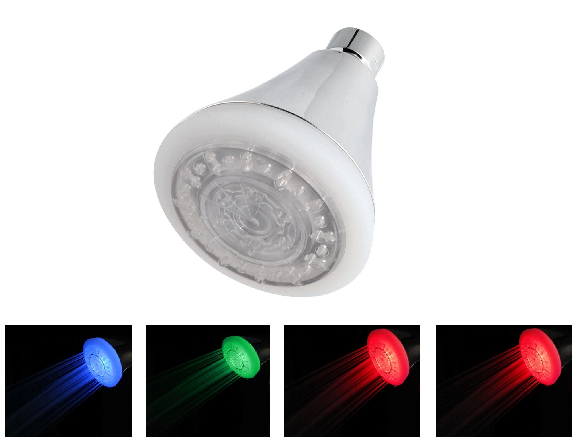 2 Function 3.4-Inch LED Temperature Sensitive Color Changing Showerhead