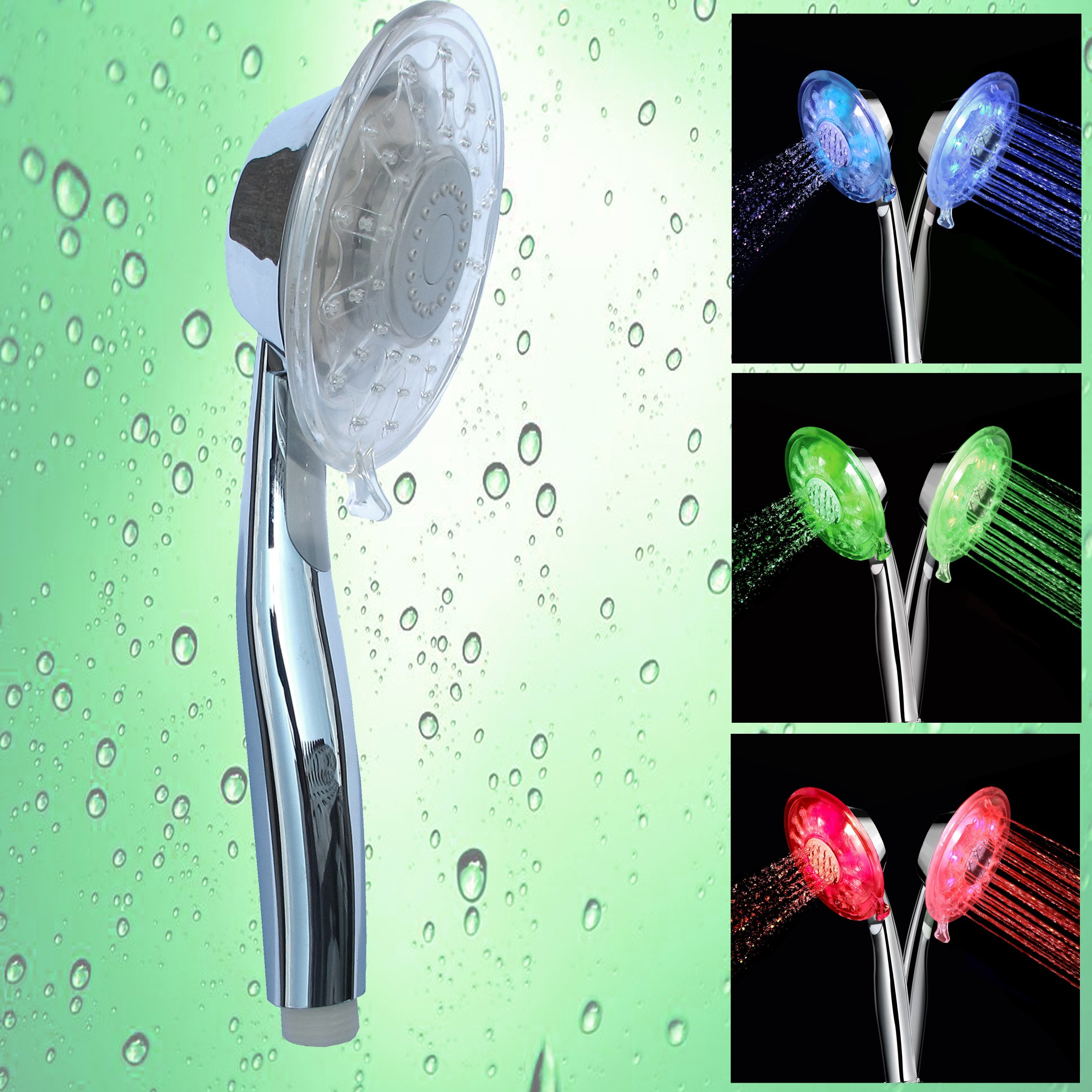 GTV's 2 Function LED Temperature Sensitive Color Changing Shower Head