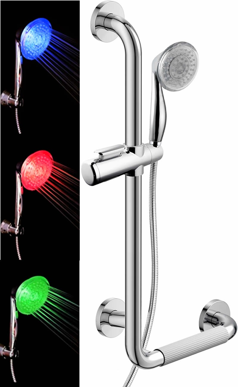 5 Function LED Temperature Sensitive L-Type Grab Bar Set, Chrome