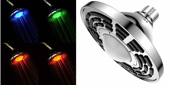 1 Function Sunrise LED Temperature Sensitive Shower Head, Chrome