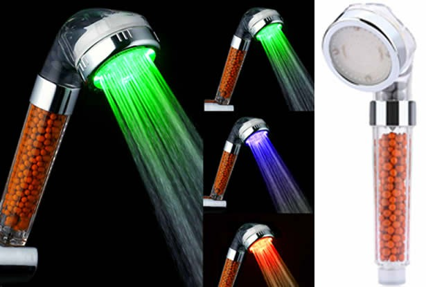 1 Function Temperature Sensitive SPA LED Shower Head With Mineral Filter