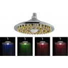 "LED Temperature Sensitive Color Changing 8"" Rain Showerhead, Brass"