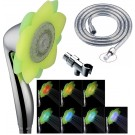 3 Function LED 7 Colors Changing Flower Shower Head with Hose & Mounting Bracket
